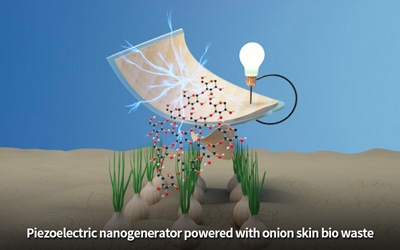 Powering a piezoelectric nanogenerator with onion skin bio waste